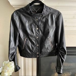 BCBG Cropped Leather Moto Jacket Black, Sz M